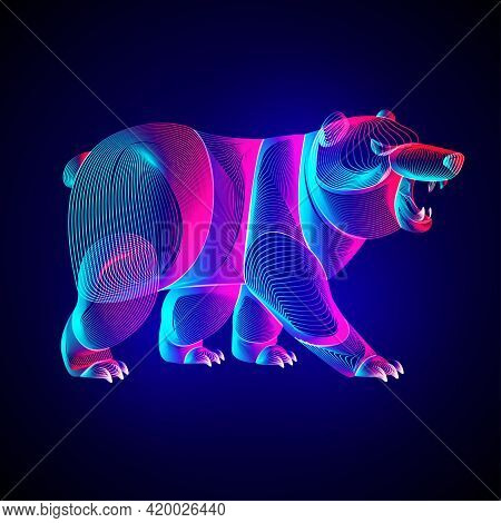 Bear Silhouette. Outline Vector Illustration Of Standing Polar Or Arctic Animal - Symbol Of Traders