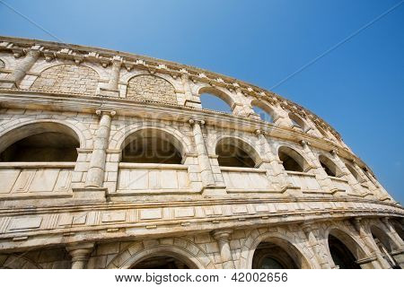 Ancient ruins. Reconstituted stone copy of architectural structures from the Roman period.