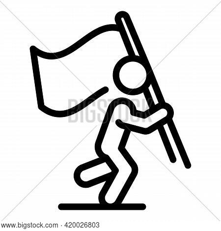 Human Resources Flag Icon. Outline Human Resources Flag Vector Icon For Web Design Isolated On White