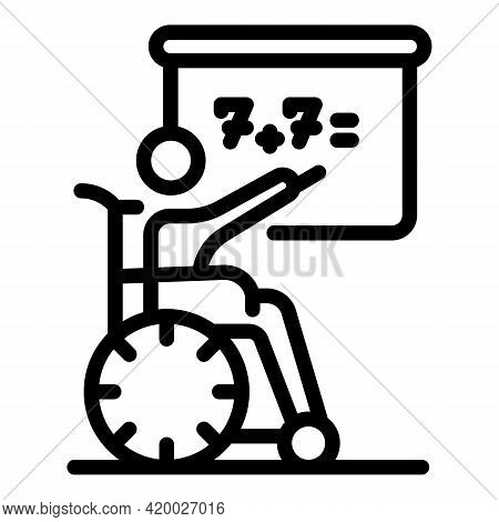 Wheelchair Man At School Icon. Outline Wheelchair Man At School Vector Icon For Web Design Isolated