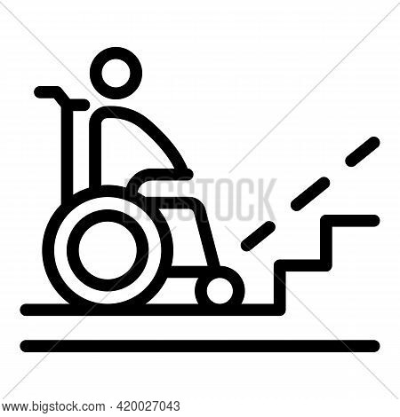 Wheelchair Near Stairs Icon. Outline Wheelchair Near Stairs Vector Icon For Web Design Isolated On W