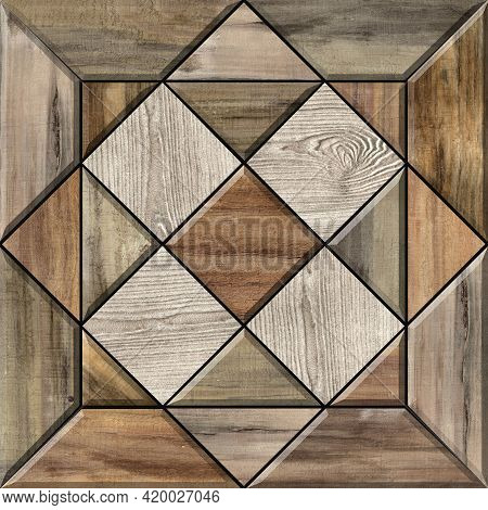 Digital tiles design.  3D rendering Colorful ceramic wall and floor tiles decoration. Abstract damas