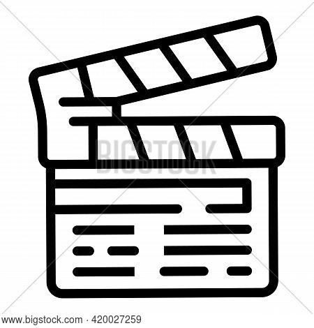 Video Clapper Icon. Outline Video Clapper Vector Icon For Web Design Isolated On White Background