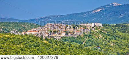 Knin Fortress And Landscape Aerial Panoramic View, Second Largest Fortress In Croatia