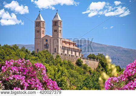 Village Of Kijevo Croatian Church On The Hill, Dalmatian Hinterland Of Croatia