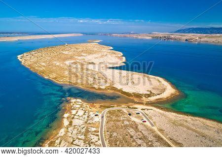 Zecevo Passage. Stone Desert Island Of Zecevo And Velebit Mountain Aerial View. Zadar Archipelago Of
