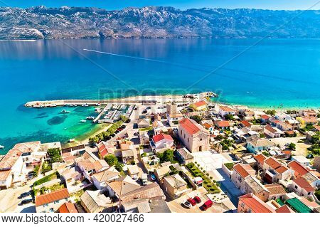 Razanac. Historic Town Of Razanac And Velebit Channel Aerial View, Dalmatia Region Of Croatia