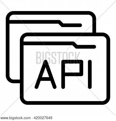Api Folder Icon. Outline Api Folder Vector Icon For Web Design Isolated On White Background