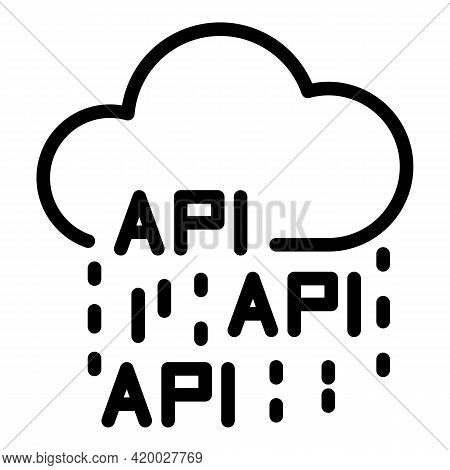 Api Data Cloud Icon. Outline Api Data Cloud Vector Icon For Web Design Isolated On White Background