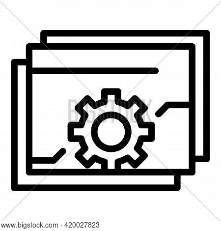 Api Gear Web Icon. Outline Api Gear Web Vector Icon For Web Design Isolated On White Background