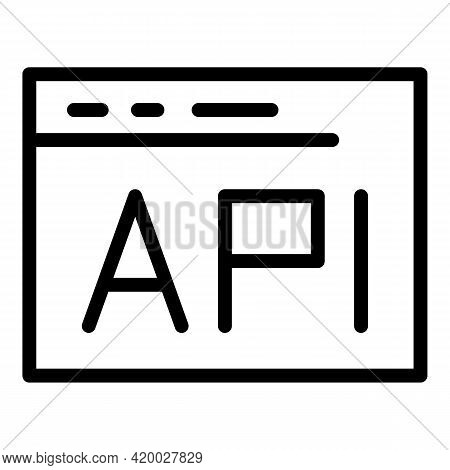 Api Gear Web Window Icon. Outline Api Gear Web Window Vector Icon For Web Design Isolated On White B