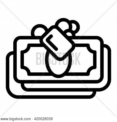 Laundry Money Banknote Icon. Outline Laundry Money Banknote Vector Icon For Web Design Isolated On W