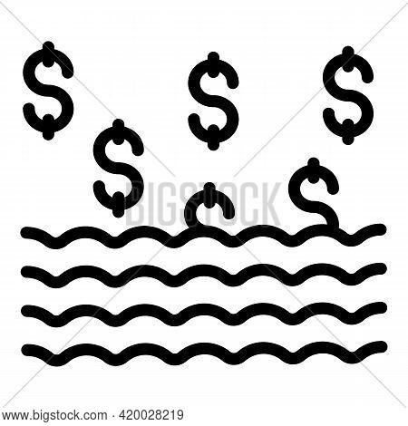 Lake Laundry Money Icon. Outline Lake Laundry Money Vector Icon For Web Design Isolated On White Bac