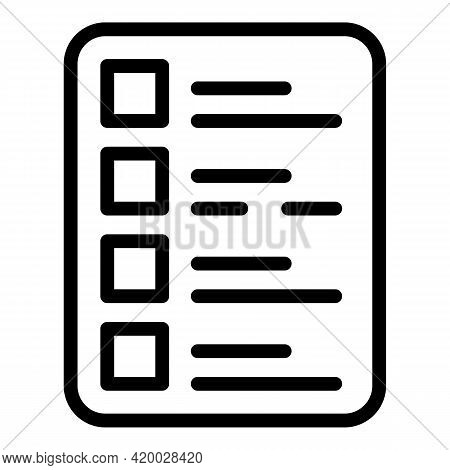 Financial Planning To Do List Icon. Outline Financial Planning To Do List Vector Icon For Web Design