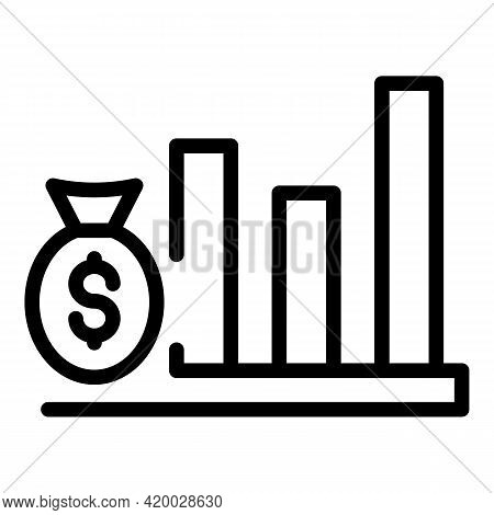Financial Planning Money Graph Icon. Outline Financial Planning Money Graph Vector Icon For Web Desi