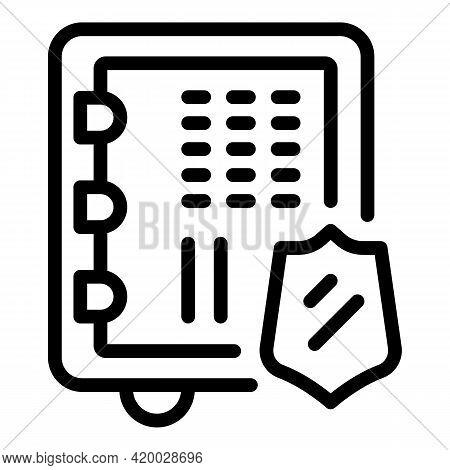 Financial Planning Digital Safe Icon. Outline Financial Planning Digital Safe Vector Icon For Web De