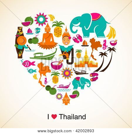 Thailand love - heart with thai icons and symbols