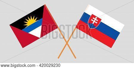 Crossed Flags Of Slovakia And Antigua And Barbuda