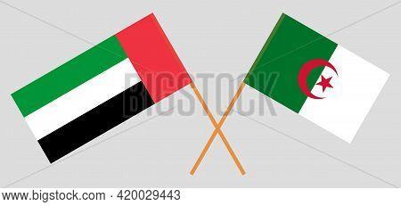 Crossed Flags Of Algeria And United Arab Emirates