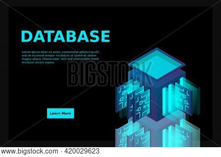 Data Center Isometric Icon, Database And Cloud Data Storage Concept, Pcb Slot, Server Room