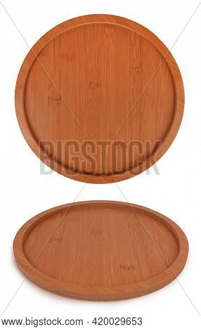 Brown round wooden tray angled view and from above isolated on white background