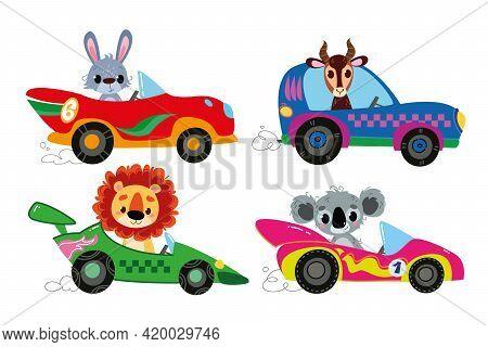 Vector Set Of Clipart Modern Cartoon Racing Cars With Animal Drivers. Rabbit, Lion, Gazelle, Koala.