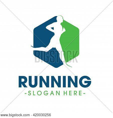 Running Logo Design. Running Health And Marathon Logo Vector