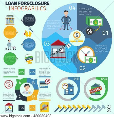 Loan Foreclosure Infographics With Debt Crisis Symbols And Charts Vector Illustration
