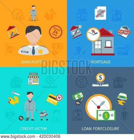 Loan Foreclosure Design Concept Set With Credit Victim Flat Icons Isolated Vector Illustration