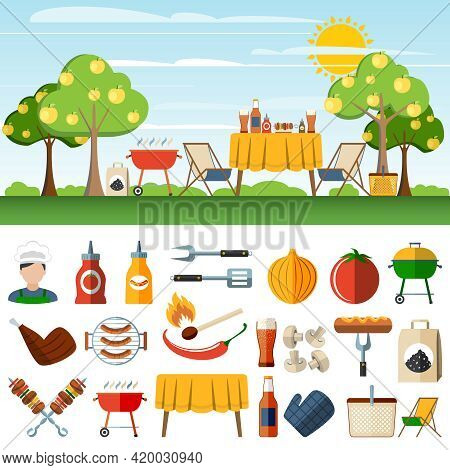 Family Barbeque Picnic In The Countryside Horizontal Banners Set With  Bbq Accessories Pictograms Ab