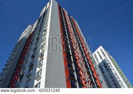 Modern residential area in Kiev. Exterior.Streets,buildings,detales. May 10,2021. Kiev , Ukraine