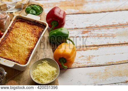 Delicious lasagne bolognese with pepper, tomato and cheese