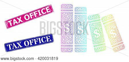 Spectral Colored Mesh Accounting Books, And Tax Office Unclean Framed Rectangle Stamp Seals. Pink An
