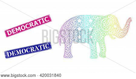 Rainbow Colored Network American Democratic Elephant, And Democratic Unclean Framed Rectangle Seal P