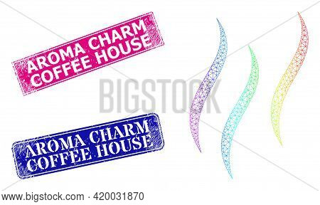 Spectral Vibrant Mesh Aroma, And Aroma Charm Coffee House Rubber Framed Rectangle Stamp Seals. Pink