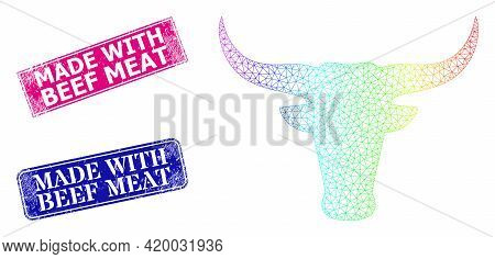 Rainbow Colored Net Bull Head, And Made With Beef Meat Corroded Framed Rectangle Stamp Seals. Pink A