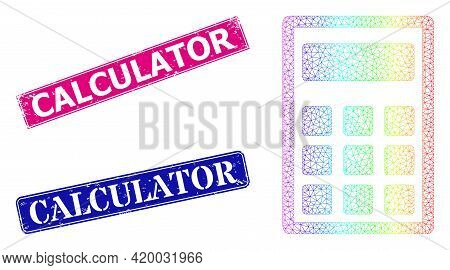 Spectral Colorful Network Calculator, And Calculator Grunge Framed Rectangle Stamp Seals. Pink And B