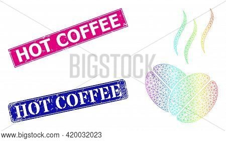 Spectrum Gradient Mesh Coffee Aroma, And Hot Coffee Grunge Framed Rectangle Stamp Seals. Pink And Bl