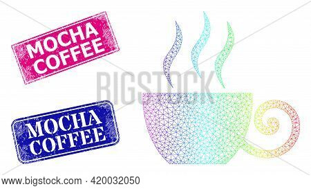 Rainbow Colorful Mesh Coffee Cup, And Mocha Coffee Rubber Framed Rectangle Stamps. Pink And Blue Rec