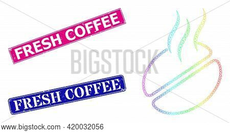 Rainbow Colorful Mesh Coffee Smell, And Fresh Coffee Scratched Framed Rectangle Stamp Seals. Pink An