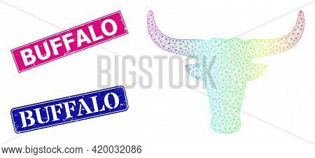 Spectral Colored Mesh Cow Head, And Buffalo Rubber Framed Rectangle Stamp Seals. Pink And Blue Recta