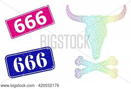 Rainbow Colorful Mesh Dead Bull Bones, And 666 Scratched Framed Rectangle Seals. Pink And Blue Recta