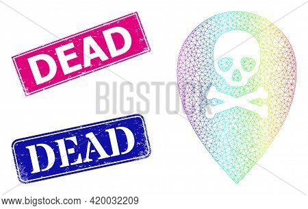 Spectrum Colored Mesh Dead Place Marker, And Dead Corroded Framed Rectangle Seals. Pink And Blue Rec