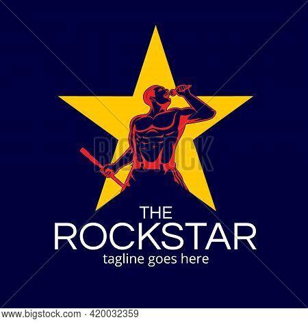 Rockstar Man  Symbol Vector Illustration. The Vocalist Singing Out Loud