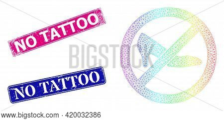 Rainbow Colorful Net Forbidden Shoes, And No Tattoo Corroded Framed Rectangle Stamp Seals. Pink And