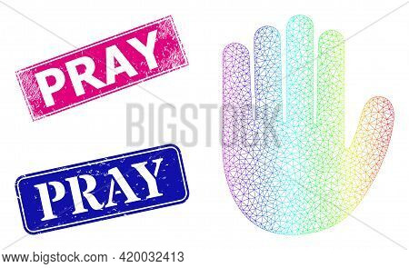 Rainbow Gradient Mesh Hand Palm, And Pray Textured Framed Rectangle Seals. Pink And Blue Rectangle S