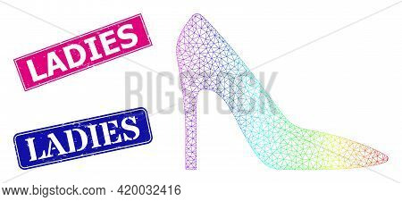 Spectrum Colored Mesh High Heel Lady Shoe, And Ladies Textured Framed Rectangle Seal Prints. Pink An