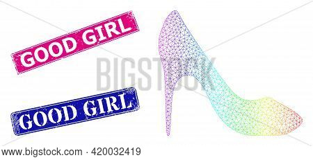 Rainbow Colorful Mesh High Heel Shoe, And Good Girl Unclean Framed Rectangle Stamp Seals. Pink And B