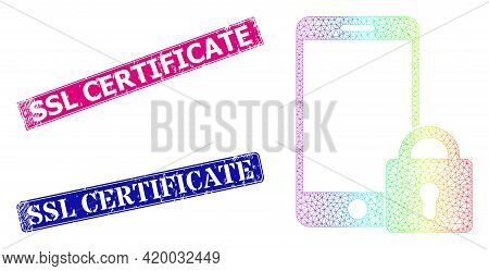 Spectral Gradient Network Locked Smartphone, And Ssl Certificate Dirty Framed Rectangle Stamp Seals.