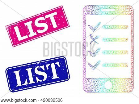 Rainbow Colorful Mesh Mobile Check List, And List Grunge Framed Rectangle Stamp Seals. Pink And Blue